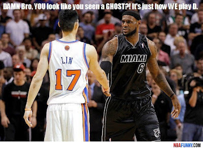 Knicks against Heat Funny NBA Pictures Lin turnovers James