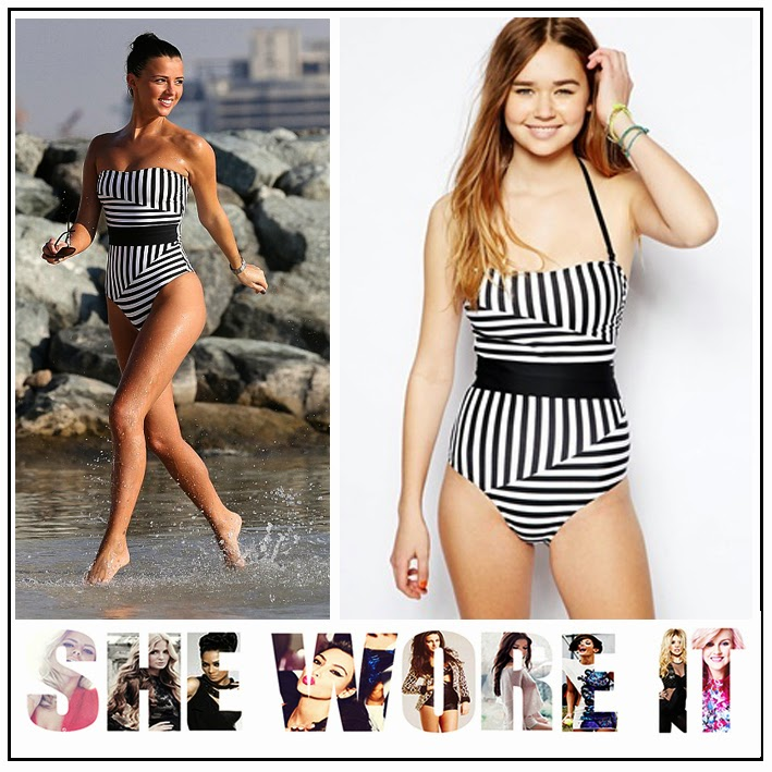 The Only Way is Essex, Lucy Mecklenburgh, ASOS, Black, White, Geometric, Striped, Strapless, Swimsuit, Thick Black Waistband, TOWIE,