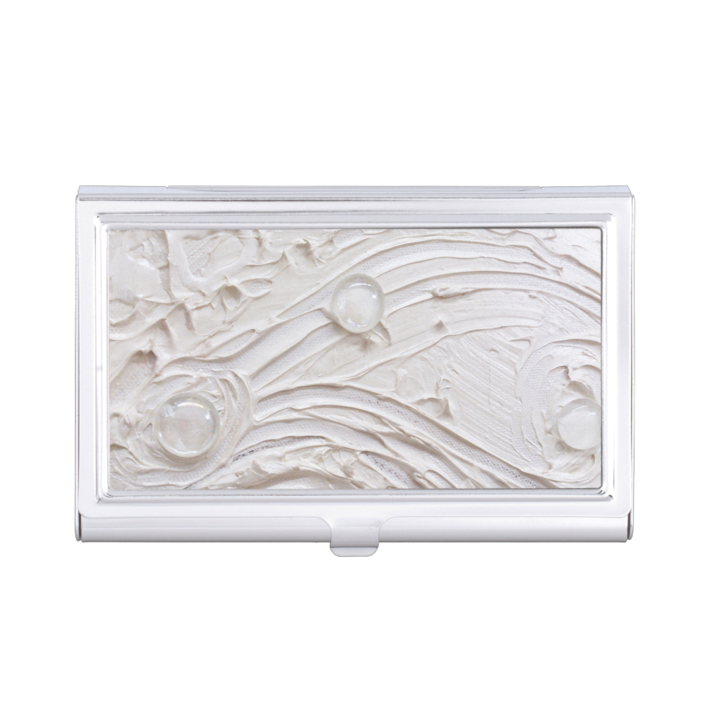 http://www.zazzle.com/untitled_white_abstract_painting_with_glass_beads_photousabusinesscardholder-256351704193291046