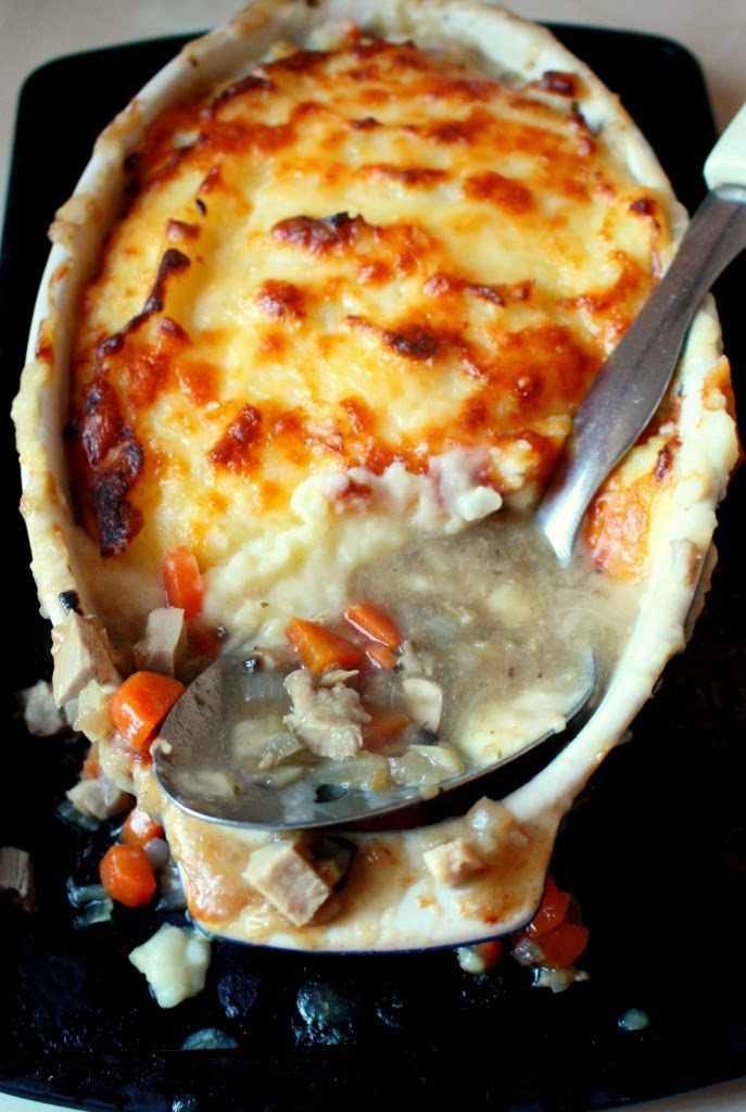 Swineherd Pie - leftover pork mixed with vegetables and rich gravy topped with creamy, cheesy mashed potatoes.