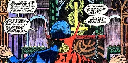 Marvel Premiere #4, Dr Strange finds the altar of Sligguth