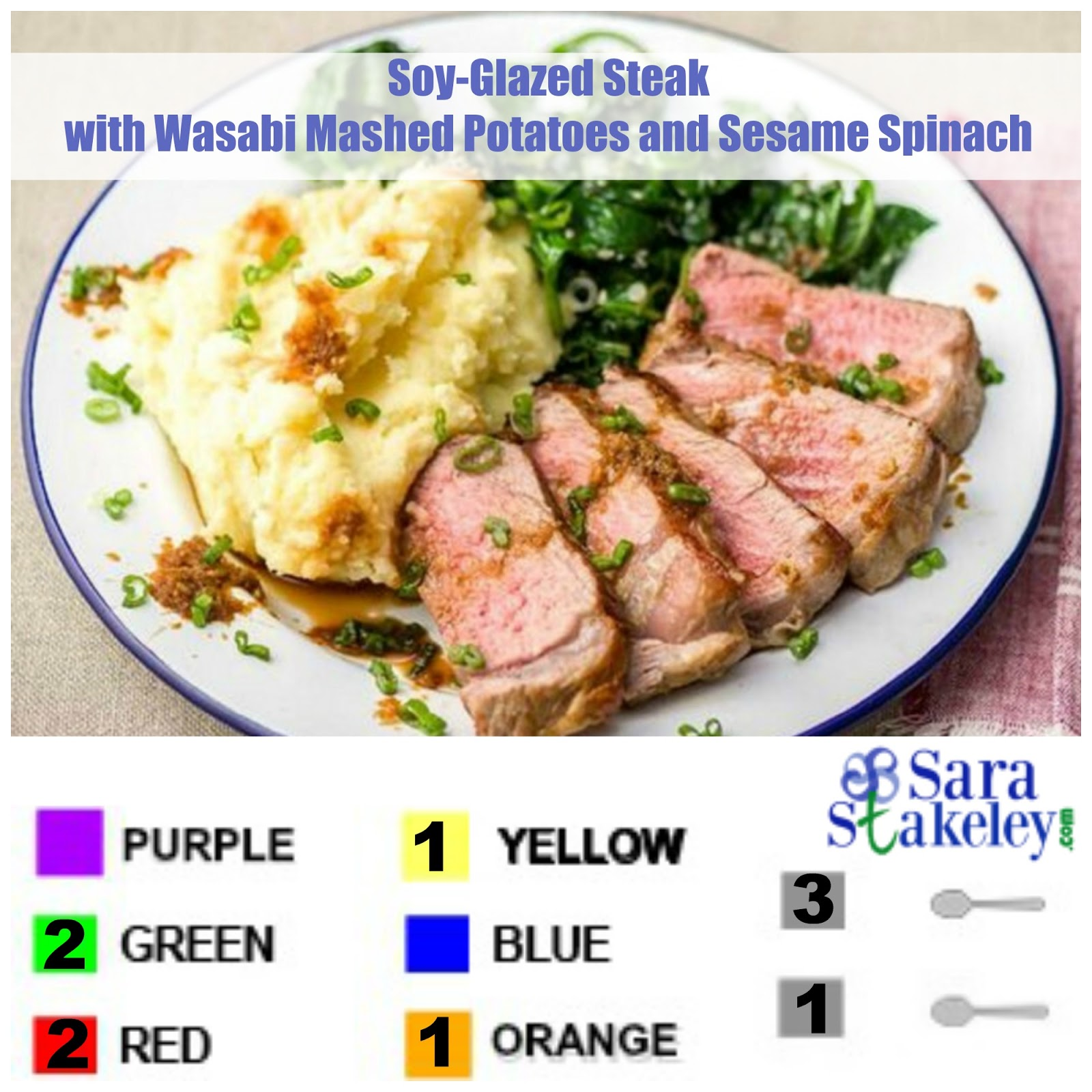... this soy glazed steak with wasabi mashed potatoes and sesame spinach
