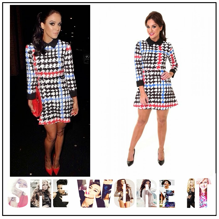 3/4 Sleeve, Black, Blue, Celebrity Fashion, Collar Detail, Collared, Contrast, Cuff Detail, Dress, Honeyz, Houndstooth Print, Red, Skater Dress, Vicky Pattison, VIP By Vicky Pattison, White,