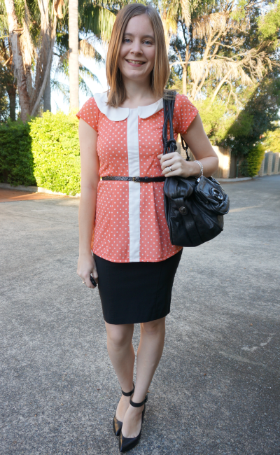 Peach Polka Dot Peplum Blouse belted pencil skirt Mimco button bag ankle strap heels
