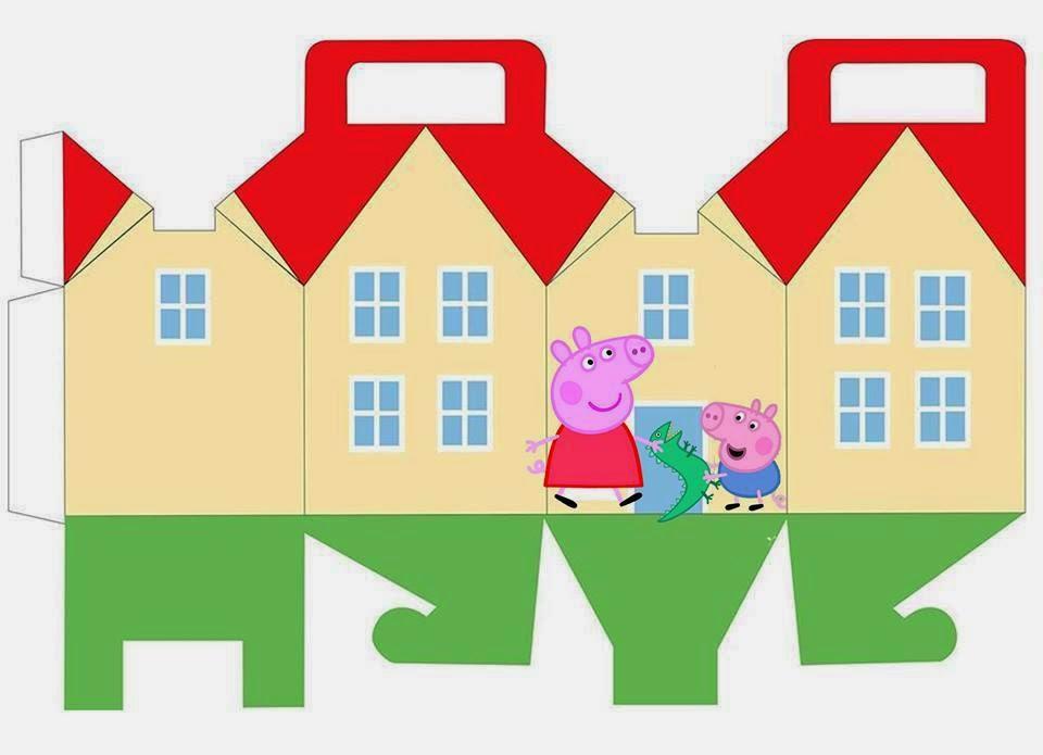 Peppa y george pig caja con forma de casa para imprimir - Casa para fiesta ...