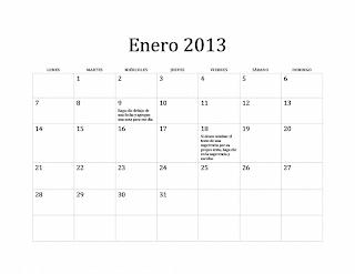 Calendario clásico 2013