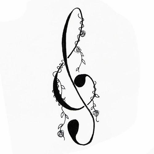 Music Sol key with vine tattoo stencil