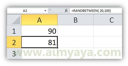 Gambar: Contoh penggunaan fungsi RANDBETWEEN() di microsoft excel