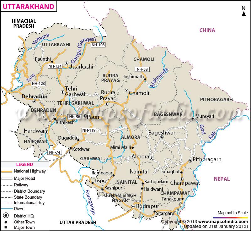 Uttarakhand Temple Map