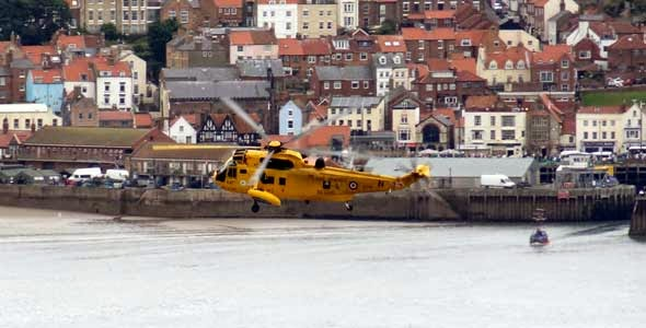 Sea King Helicopter Flies over Scarborough's South Bay