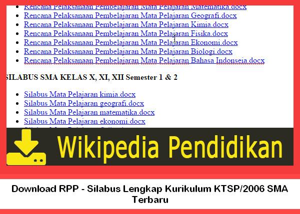 Download RPP - Silabus Lengkap Kurikulum KTSP/2006 SMA Terbaru