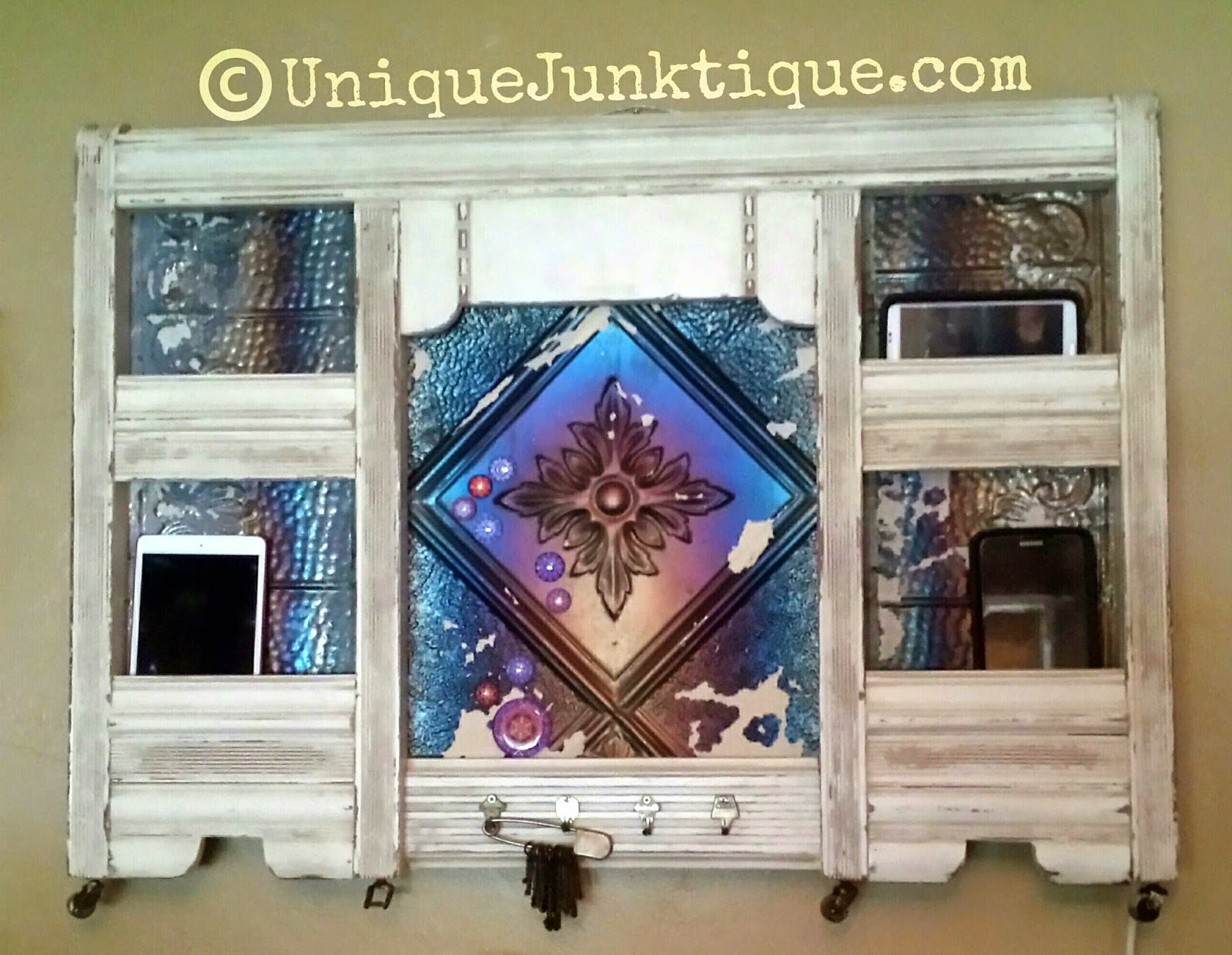 Salvaged repurposed message board charging station by uniquejunktique