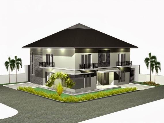 rumah dengan atap prisma