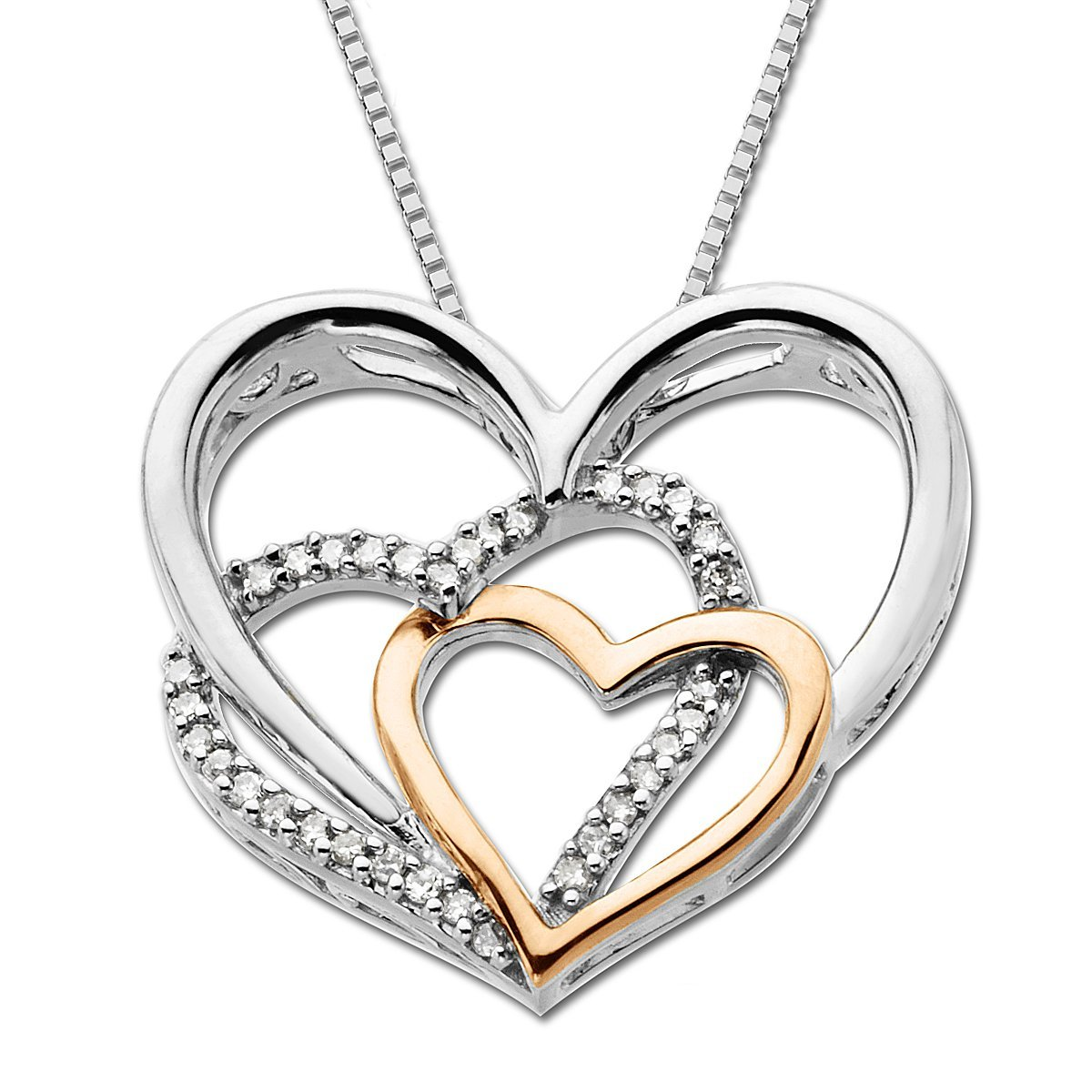 diamond heart pendants on k pink gold diamond heart. Black Bedroom Furniture Sets. Home Design Ideas