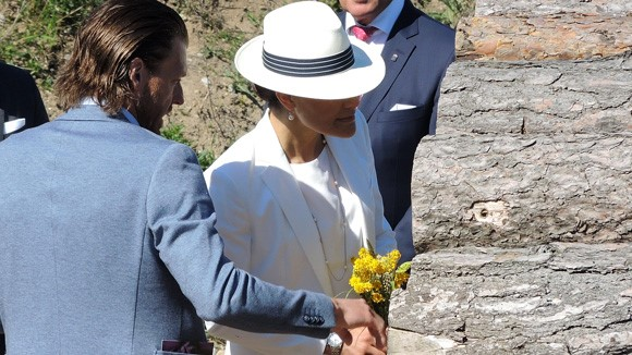 Crown Princess Victoria of Sweden and Prince Daniel of Sweden visited the Island of Gotland. Also visits the newly built bee-hotel. Gotland Governor Cecilia Schelin-Seidegård