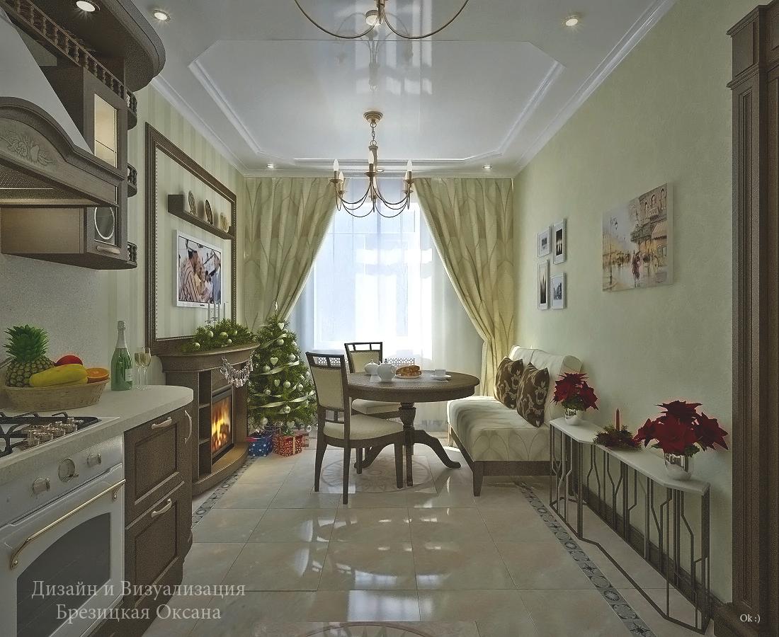 Кухня гостиная в классическом стиле дизайн фото