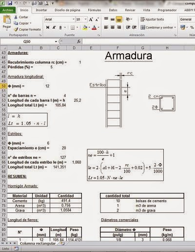 Obtención de Cómputos métricos en columnas