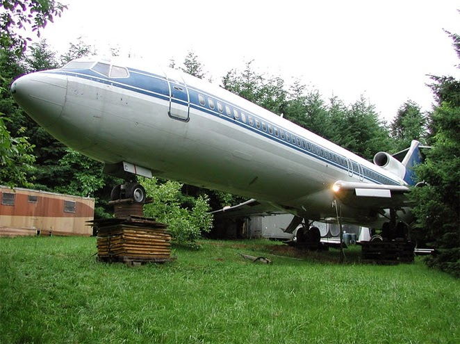 Man converts airplane into home in the woods!