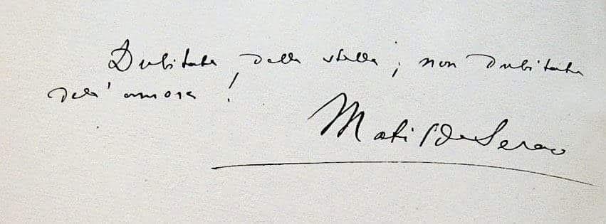 """""""Scritto autografo della scrittrice e giornalista partenopea Matilde Serao"""""""