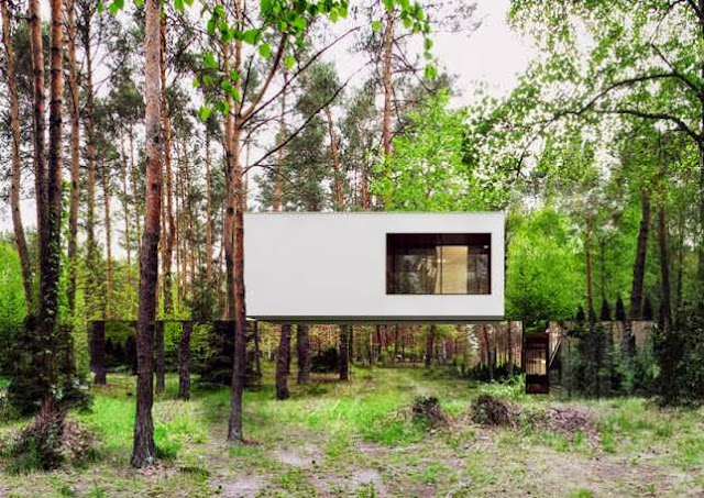TOP 7 UNIQUE HOUSE DESIGN: WHITE HOVER BOX HOUSE DESIGN WITH NO VISIBLE SUPPORTS SUSPENDING IT FROM ADJACENT TREES