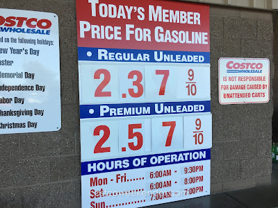 Costco gas for Jan 15, 2016 at Redwood City, CA