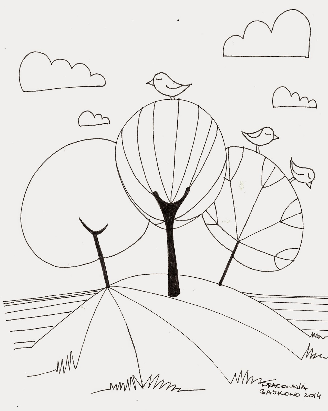 4 * kolorowanka, drzewa i ptaki