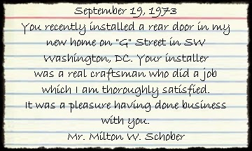 House of Doors - Alexandria, VA Customer Review September 19 1973