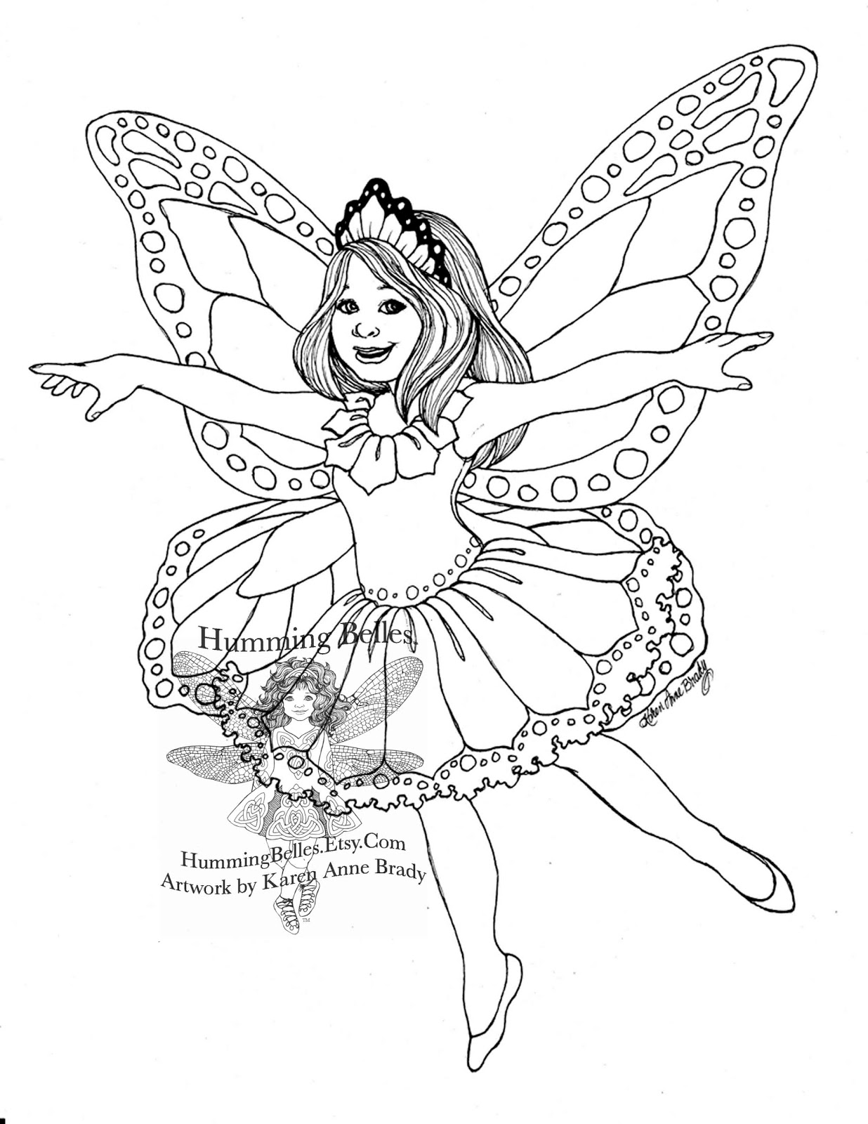 Humming belles new illustrations and fairy paper for Coloring pages fairies