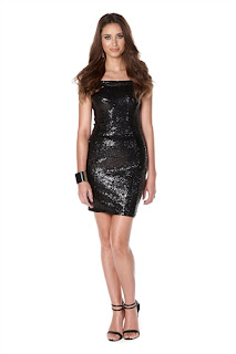 Club L Sequin Bardot Midi Dress