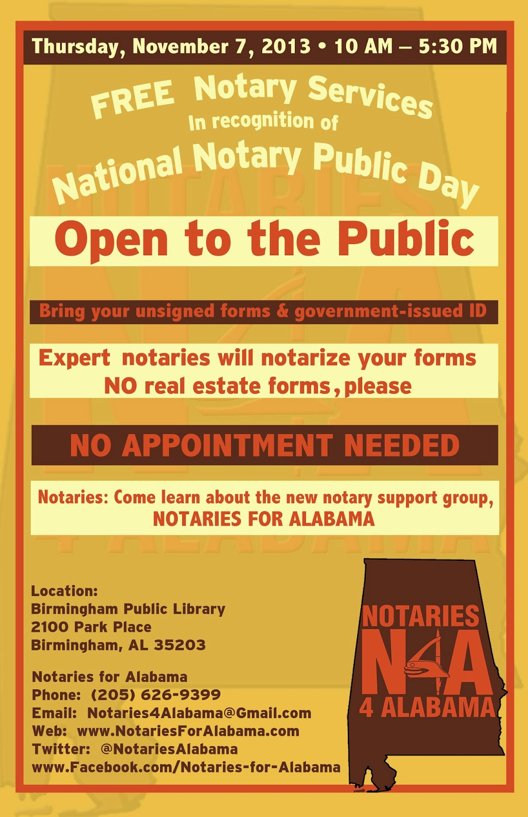 Alabama Secretary Of State Jim Bennett To Attend National Notary Public Day  At Central Library, As Part Of The Application