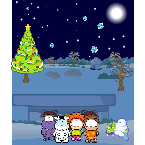 Postal de navidad gusanito - vector