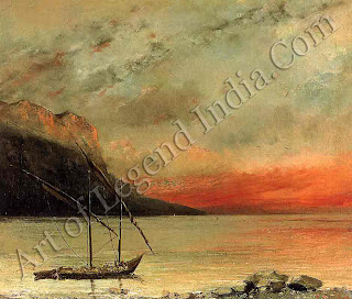 Sunset on Lake Geneva Painted in 1874, during his exile, this quiet evening scene is one of many views of Lake Geneva which Courbet executed in his final years. On the far shore is France forbidden territory.