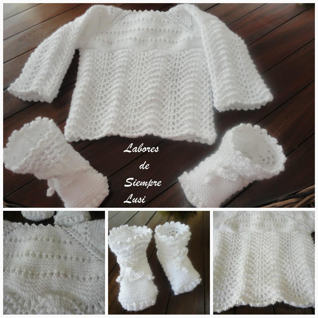 Labores de siempre jersey beb y patucos en blanco - Labores de punto de lana ...