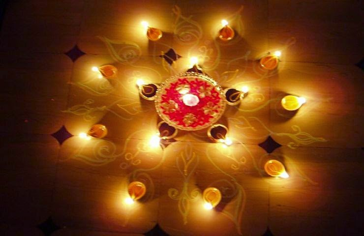 Rangoli Designs and Patterns with Lamps for Diwali 1