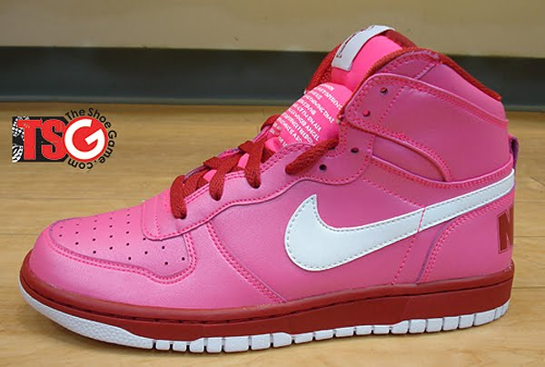 pink leather upper nike valentines day shoes