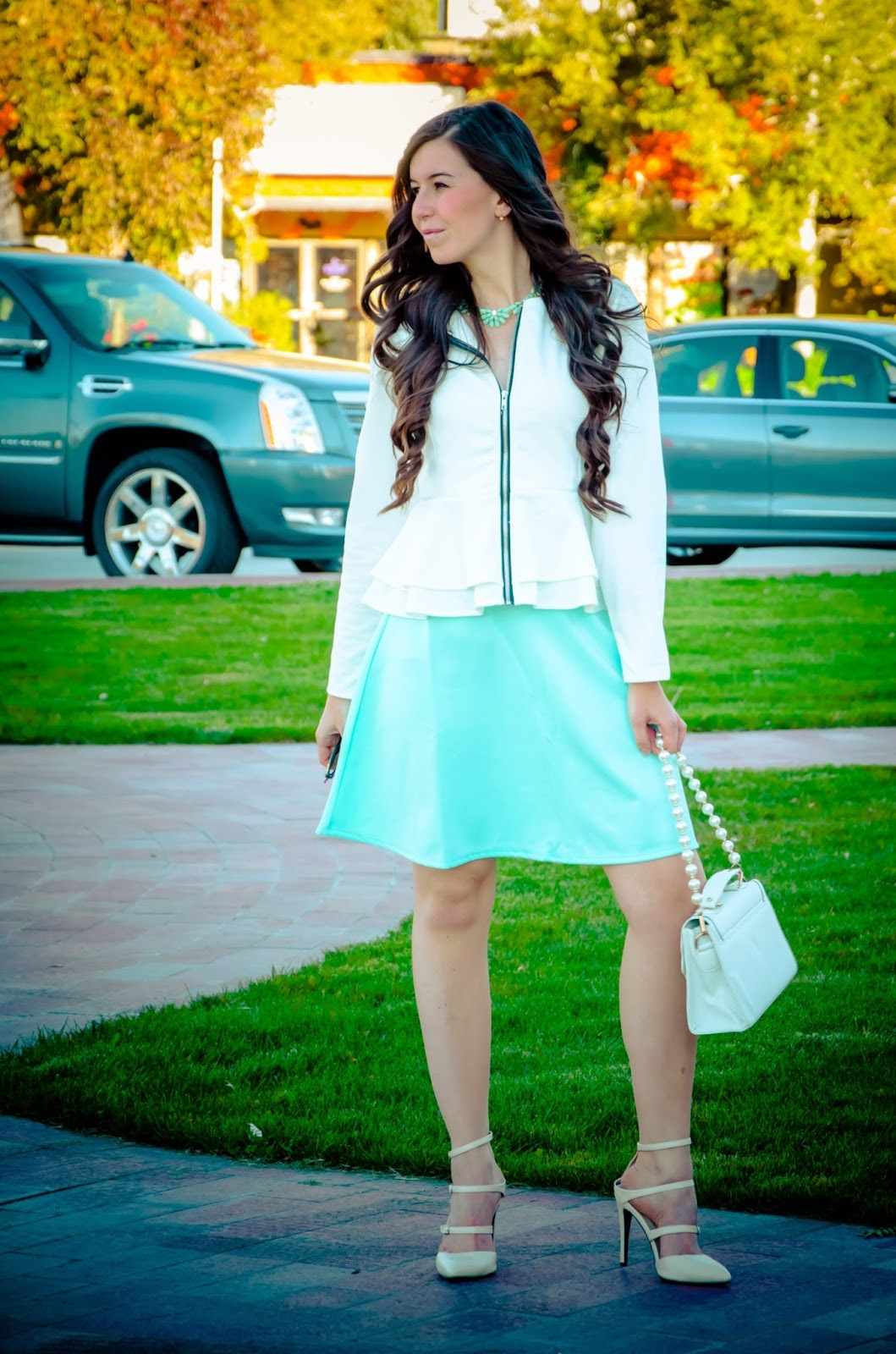 date night outfit, blackfive peplum jacket, peplum jacket, white and mint, strap heels, ankle strap heels, pretty outfit,