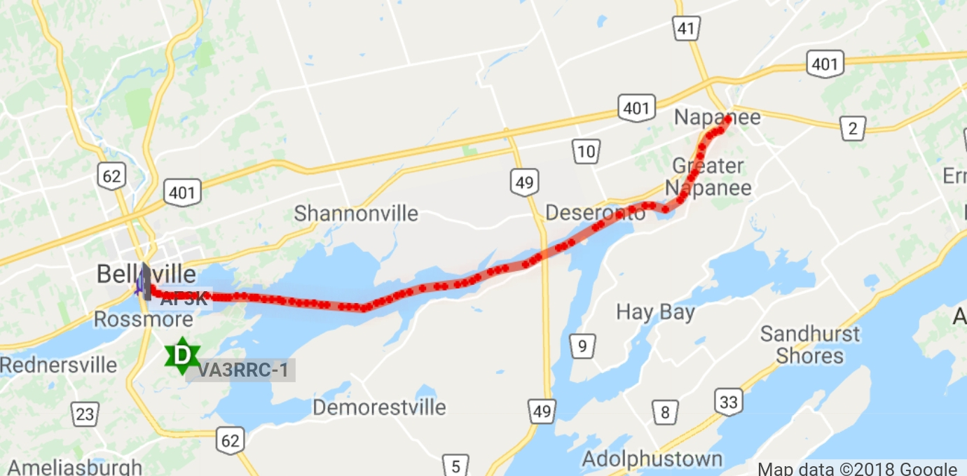 24 miles from napanee to belleville ontario