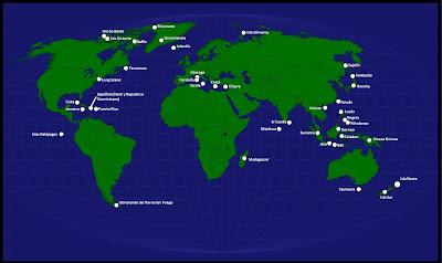 Mapamundi, seterra, Mapa de los nombres de las Islas en el mapamundi