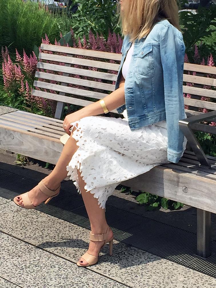 Line & dot lace culottes, Vince Gemma heels