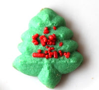 spritz cookies almond vanilla Christmas sprinkles Christmas tree-shaped