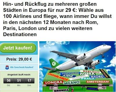 Flug-Aktion bei Groupon: Hin- und Rückflug in verschiedene europäische Großstädte für 29 Euro