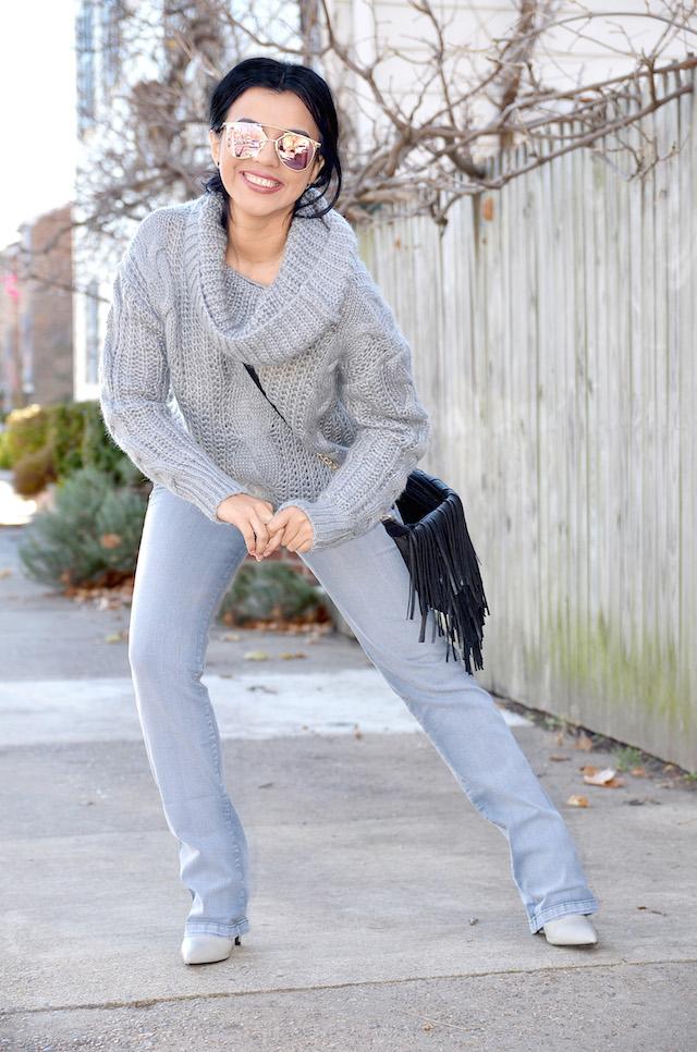 Gray Jeans - Mari Estilo- Jeans Grises, Sweater Cable
