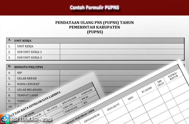 Contoh Formulir PUPNS (Pendataan Ulang Pegawai Negeri Sipil)