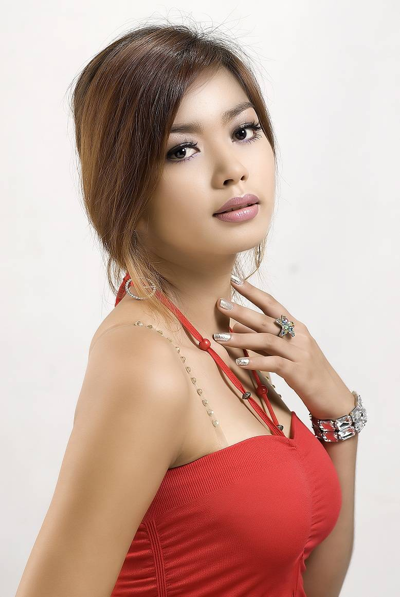 Nwe Nwe Htun - Red Dress in Studio photo collection. Total 9 photos.