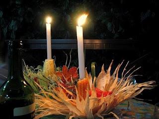 Decoração de festa junina com velas