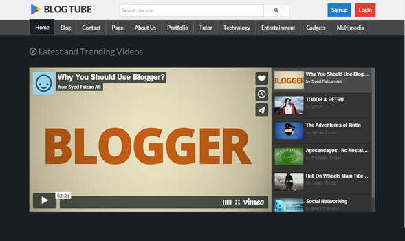 BlogTube is a Professional Responsive Video Blogger Template Full
