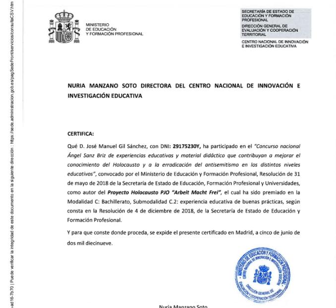 """Premio Nacional """"ÁNGEL SANZ BRIZ"""" del Ministerio de Educación para la enseñanza del Holocausto 2018"""