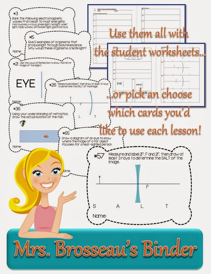 http://www.teacherspayteachers.com/Product/Optics-Tasks-Cards-EDITABLE-1373091