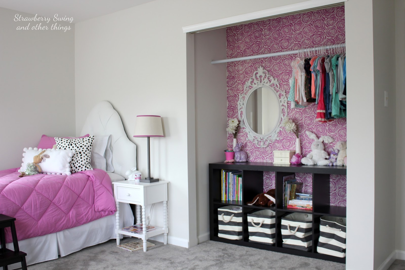 Beau Roses All Over   Stenciled Closet