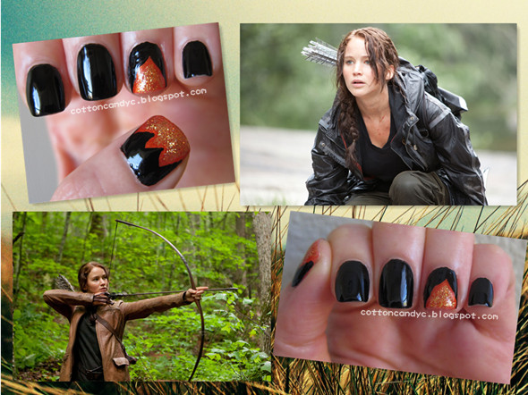 This flame nail art is inspired by the movie The Hunger Games (that's coming